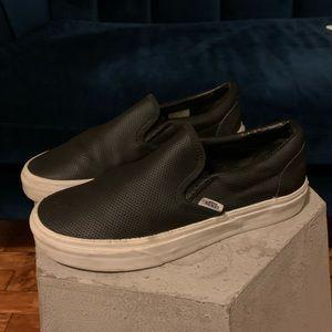 Vans Classic Leather Slip-Ons Black Women's 8.5
